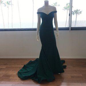 Jovani Hunter Glitter Off the Shoulder Prom Dress